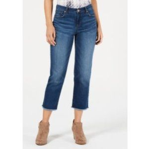 Style & Co Mid Rise Curvy Fit Raw Hem Ankle Jeans